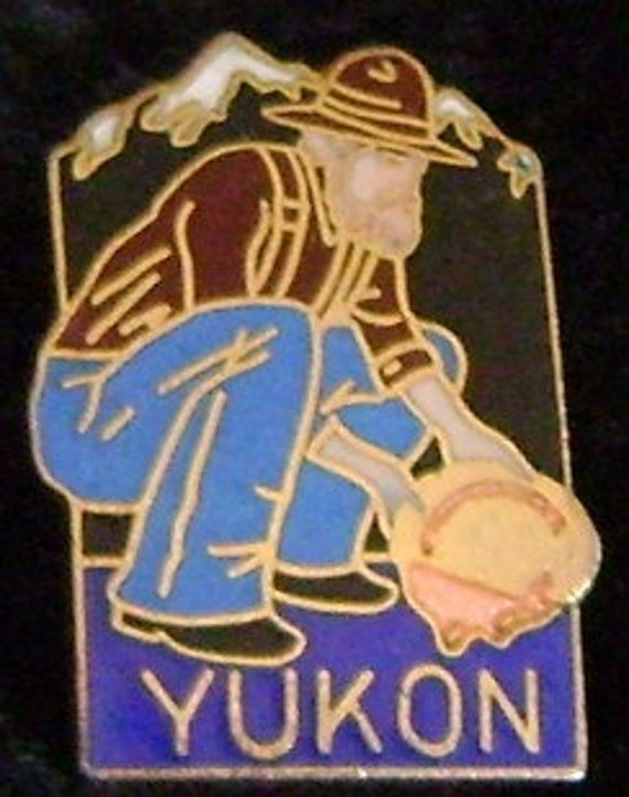 cloisonne Yukon miner  hat / lapel pin  Free Shipping in US