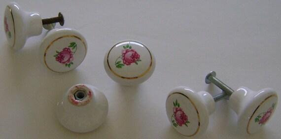 Pretty Single Rose Motif  Framed in Gold Porcelain Knobs    Set of 6