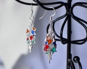 Cascading Stars colorful cluster earrings