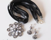 Black Beauty Set - Ribbons and sexy floral pendant necklace AND matching post dangle earrings
