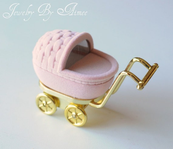 Pink Baby Carriage Gift Box - ring, stud earrings, or small pendants