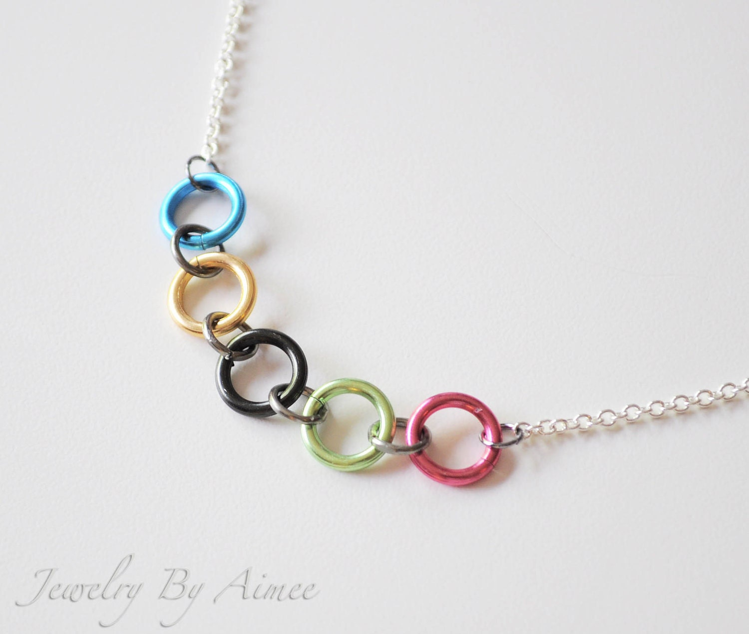 items similar to olympic rings inspired necklace