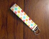 Sale Handmade Key Chain, Fabric Key Fob, Key Strap - Multi Dots