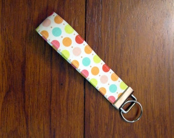 Sale Handmade Key Chain, Fabric Key Fob, Key Strap - Multi Dots