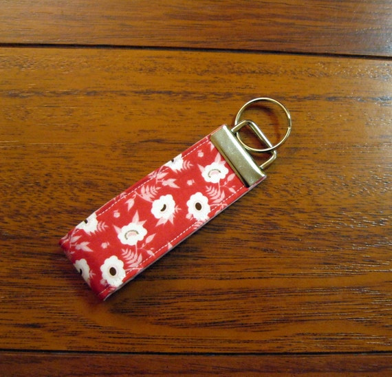 Sale Mini Fabric Key Fob - Riley Blake Dainty Blossoms Pink Floral