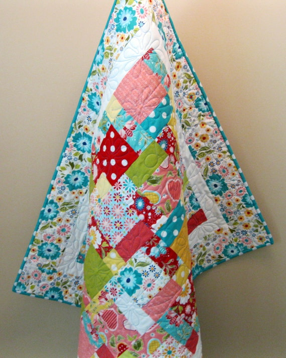 """Sale Apple of My Eye Baby or Toddler Girl Quilt--38"""" x 46"""""""