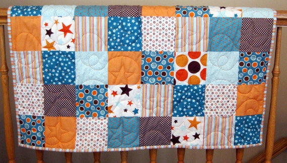 """Sale All Star 2 Orange, Blue and Brown Baby or Toddler Boy Quilt--34"""" x 39"""""""