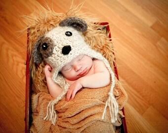 PDF Crochet Pattern - Puppy Earflap Hat - Includes 4 Sizes