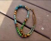 Long Organic Vibrant Beaded Necklace - Aquata