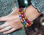 ON SALE Vivid Multi Strand Organic Beaded Bracelet - Polychromatic