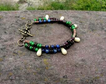ON SALE Double Strand Beaded Bracelet: Garnet, Lapis Lazuli & African Trade Bracelet - Primary