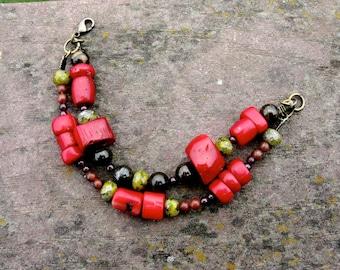 Double Strand Organic Beaded Bracelet: Coral, Garnet, Jasper, Bronzite - Spice Market