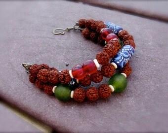 Multi Strand Organic Beaded Bracelet: Rudraksha Seed, Krobo & African Trade Glass Beads - Seed n Stone, Glass n Bone II