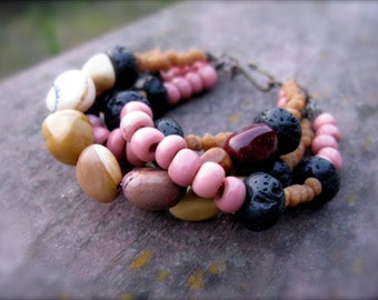 Multi Strand Organic Beaded Bracelet - First Light II