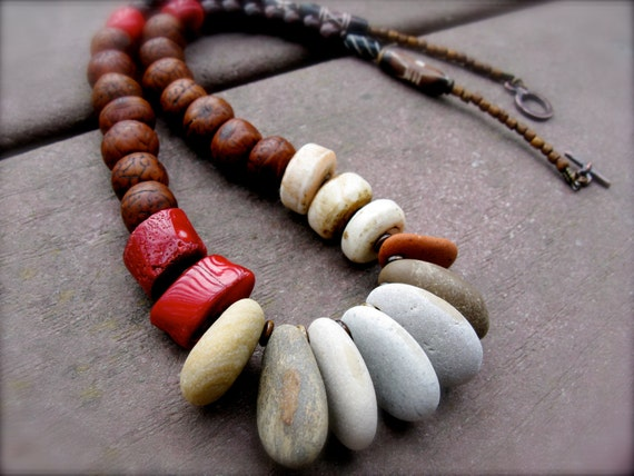 Organic Primitive Beaded Stone Necklace: Oxidized Brass, Robles Wood, Coral, Naga, Rosewood, and Bone - The Medicine Woman II