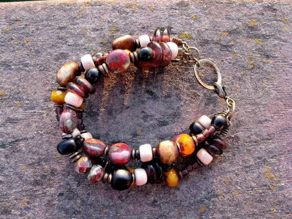 Multi Strand Organic Beaded Gypsy Autumn Bracelet: Bone, Recycled Glass, Rosewood, Czech Glass, Horn - October
