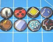 Set of 8 Pokemon Gym Badges - Johto League