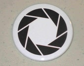 Black and White Aperture Science - Portal - 1 inch Button Badge