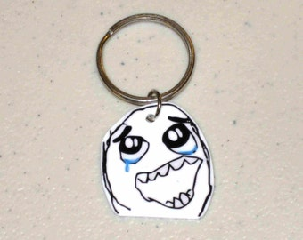 Happy Rage Guy - Internet Meme - Keychain, Cell Phone Charm, Necklace, Earrings