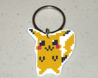 8 Bit Pikachu, Bulbasaur, Charmander or Squirtle - Pokemon - Keychain, Charm, Necklace or Earrings