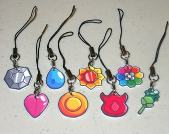 You Choose 1 Charm - Pokemon Gym Badges - Indigo League - Cell Phone Charms