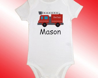 Bodysuit Baby Clothes - Personalized Applique - Fire Truck - Embroidered Short or Long Sleeved  - Free Shipping