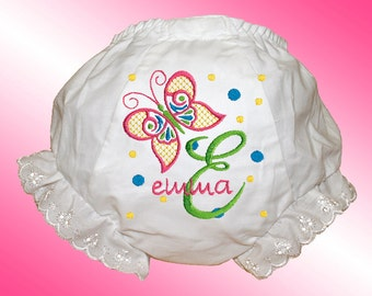 Bloomers - Personalized Embroidered Diaper Cover - Butterfly Monogram - Free Shipping