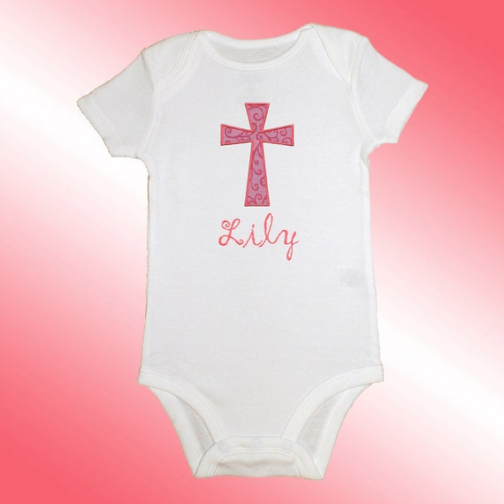Onesie Bodysuit Baby Shirt - Personalized Applique - Pink Cross - Embroidered Short or Long Sleeved