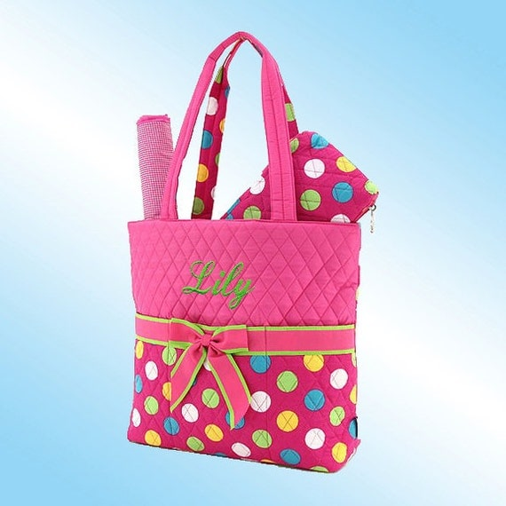 PERSONALIZED DIAPER BAG - 3 Piece Set - Quilted Pink and Multi Color Polka Dots