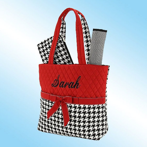 PERSONALIZED DIAPER BAG - 3 Piece Set - Quilted Black and White Houndstooth with Red Accents