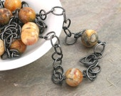 Long Crazy Lace Agate Necklace: Oxidized Sterling Silver Necklace with Yellow Brown Stone (Tivian)
