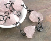 Big Chunky Necklace: Chunky Rose Quartz Necklace with Grey Black Oxidized Sterling Silver (Sarina)
