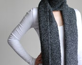 100% Australian Premium Wool Hand Knitted Black and White Scarf with Fringe