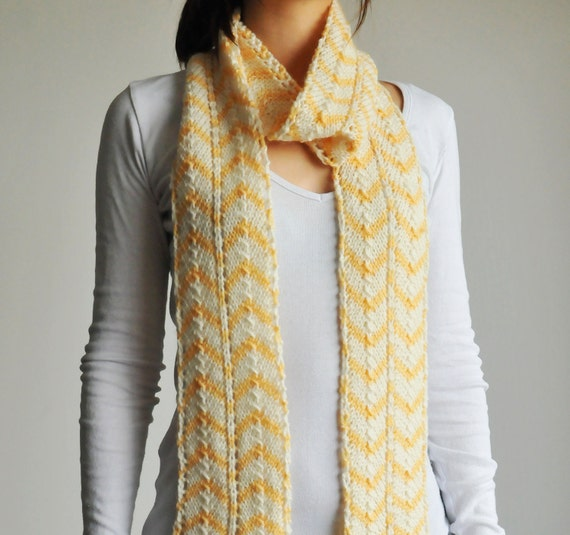 Hand Knitted Yellow & White Lace Scarf