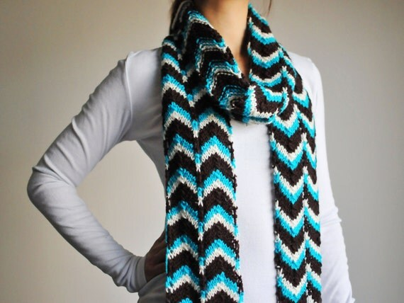 Hand Knitted Blue Lace Scarf