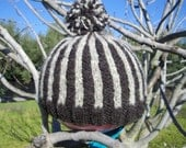 SALE--Black and Grey vertical striped hat made from homegrown and handspun wool and mohair