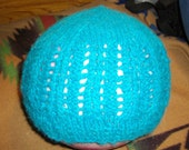 Simple lace hat in seabreeze color, made from homegrown, handspun shetland sheep wool