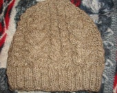 Reserved for Shannon of North Woods Fever- Cabled hat made from handspun dark moorit Shetland sheep wool