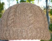 Cabled hat in natural brown shetland sheep wool, homegrown and handspun