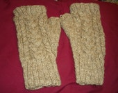 Double cabled Fingerless mittens/gloves made from handspun, handknit shetland sheep wool