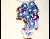 Grape Cluster Necklace with Glass Butterfly