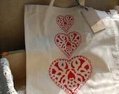 Hand Printed Natty Heart Tote