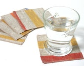 Cheery Striped Coasters- Set of 5