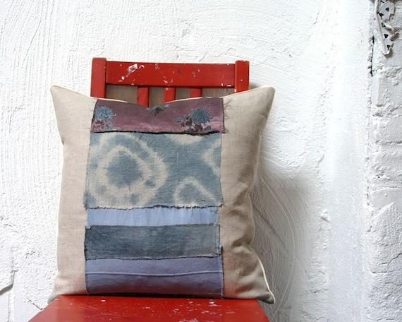 Hand Dyed Indigo Patchwork Throw Pillow