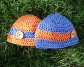 twin boy orange and blue hats