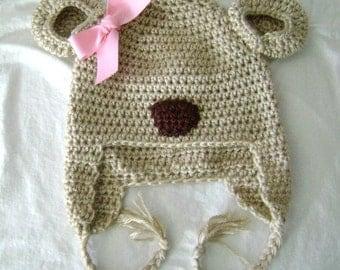 girl bear earflap hat