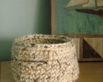 neutral crocheted round basket