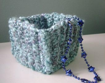 aqua crocheted square basket
