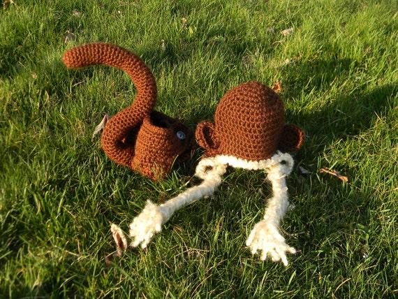 baby monkey diaper cover & earflap hat set - photo prop