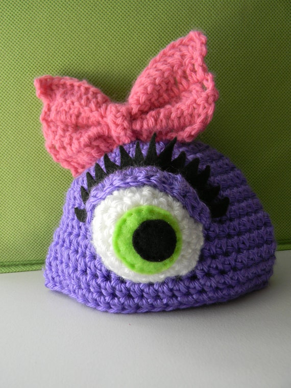 girls' purple one-eyed monster hat w/ bow